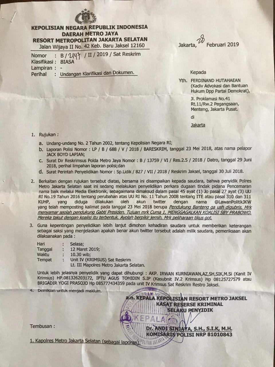 Surat Polisi Beredar Ferdinand Hutahean Dipanggil Untuk Klarifikasi Cuitan Ini Makassar Terkini