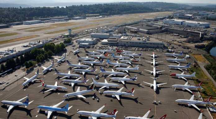 Pesawat Boeing 737 Max terparkir di Seattle, Washington