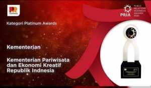 Biro Komunikasi Kementerian Pariwisata dan Ekonomi Kreatif/Badan Pariwisata dan Ekonomi Kreatif (Kemenparekraf/Baparekraf) meraih Platinum Awards, apresiasi tertinggi di ajang PR Indonesia Awards (PRIA) 2020.
