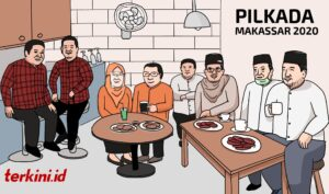 Pilkada Makassar, Pilwalkot Makassar, Pilwali Makassar, nomor urut kandidat, tahapan Pilkada Makassar, tahapan Pilkada, Dilan, Adama, Imun, Appi-ARB, karikatur,illustrasi illustrasi danny pomanto,illustrasi adama,
