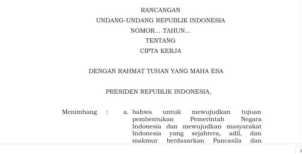 Dokumen Pdf Omnibus Law Cipta Kerja Yang Sudah Disahkan Oleh Dpr Dan Pemerintah