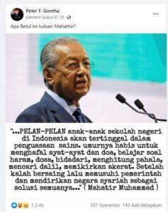 Tangkapan layar Facebook Peter Gontha berisi meme Mahathir Mohamad