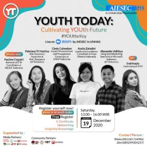 """AIESEC in UNHAS Gelar Webinar """"Youth Today: Cultivating YOUth Future"""" Di Tengah Pandemi"""