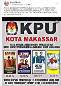 Hasil tangkapan layar dari Facebook Anwar Nurdin