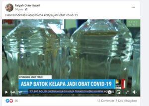 Tangkapan layar video klaim asap batok kelapa jadi obat covid-19